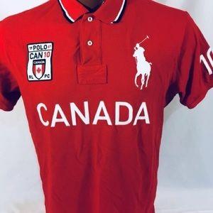 Mens Big Pony Canada Custom Fit Mesh Polo Shirt XL